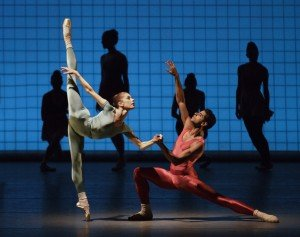 "New York City Ballet dancers Rebecca Krohn and Amar Ramasar in Jerome Robbins's ""Glass Pieces"" Photo by Paul Kolnik"