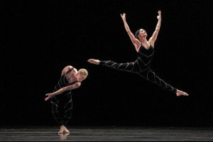 "Paul Taylor Dance Company members Michael Trusnovec and Parisa Khobdeh in ""Promethean Fire"" Photo by Paul B. Goode"