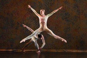 "Lyon Opera Ballet members Coralie Levieux and Raul Serrano Nunez in Merce Cunningham's ""Summerspace"" Photo by Paul B. Goode"