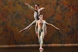 "Lyon Opera Ballet members Elsa Monguillot de Mirman and Raul Serrano Nunez in Merce Cunningham's ""Summerspace"" Photo by Paul B. Goode"