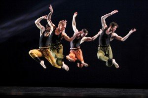 "(l-r) Robert Kleinendorst, Michael Trusnovec, Michael Apuzzo, and Sean Mahoney of Paul Taylor Dance Company in ""Syzygy"" Photo by Paul B. Goode"