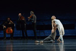"Wendy Whelan and Brian Brooks with Brooklyn Rider (rear) in ""Some of a Thousand Words"" Photo by Nir Arieli"