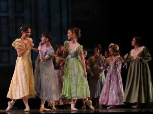 "Lily Saito, Monica Giragosian, Shaye Firer (foreground, l-r) and American Repertory Ballet dancers in Douglas Martin's ""Pride and Prejudice"" Photo by Leighton Chen"