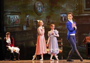 "American Repertory Ballet dancers Jacopo Jannelli, Ericka Reenstierna-Cates, Monica Giragosian, and Mattia Pallozzi (l-r) in Douglas Martin's ""Pride and Prejudice"" Photo by Leighton Chen"