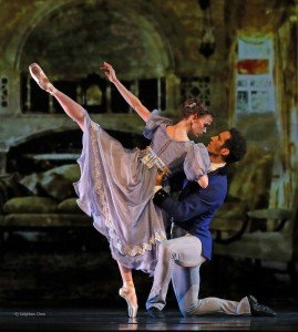 "American Repertory Ballet dancers Monica Giragosian and Mattia Pallozzi in Douglas Martin's ""Pride and Prejudice"" Photo by Leighton Chen"