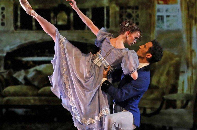 """American Repertory Ballet dancers  Monica Giragosian  and Mattia Pallozzi  in Douglas Martin's  """"Pride and Prejudice""""    Photo by Leighton Chen"""