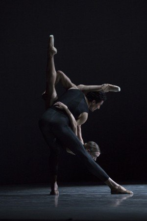 "Pacific Northwest Ballet dancers Karel Cruz and Lesley Rausch in David Dawson's  ""Empire Noir"" Photo by Angela Sterling"