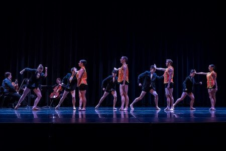 "Ballet Bellevue dancers in Jennifer Porter's ""It's Only an Orange Vest"" Photo by Andrew Ness"