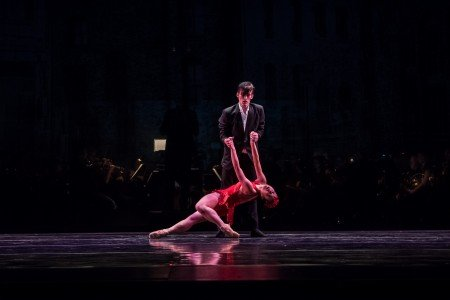 "Ballet Bellevue dancers Kyle Johnson and Chessa Chalmers in Jennnifer Porter's ""The Firebird"" Photo by Andrew Ness"