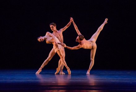 "(l-r) Victoria Jaiani, Temur Suluashvili, and Rory Hohenstein of The Joffrey Ballet in Christopher Wheeldon's ""Fool's Paradise"" Photo by Cheryl Mann"