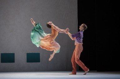 """Pacific Northwest Ballet dancers  Elle Macy and Dylan Wald  in Jessica Lang's """"Her Door to the Sky""""     Photo by Angela Sterling"""