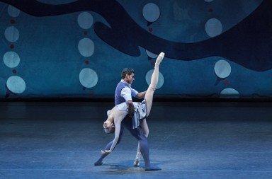 "New York City Ballet dancers Unity Phelan and Amar Ramasar in Christopher Wheeldon's  ""American Rhapsody""   Photo by Paul Kolnik"