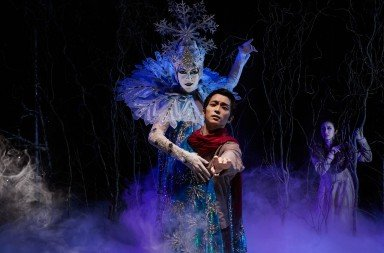 "Eugene Ballet dancers  Danielle Tolmie and Hirofumi Kitazume  in Toni Pimble's ""The Snow Queen""    Photo by Jeremy Bronson"