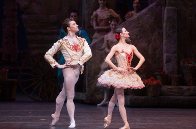 "Christine Shevchenko, Alban Lendorf, and members of American Ballet Theatre  in ""Don Quixote""    Photo by Rosalie O'Connor"