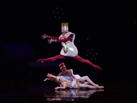 "American Ballet Theatre dancers (top to bottom) Duncan Lyle, Roman Zhurbin and Catherine Hurlin in Alexei Ratmansky's ""Whipped Cream"" Photo by Gene Schiavone."