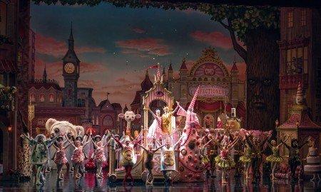 "Sarah Lane and Daniil Simkin (center) and American Ballet Theatre dancers in Alexei Ratmansky's ""Whipped Cream"" Photo by Gene Schiavone"