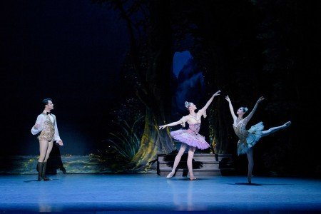 "Boston Ballet dancers Paulo Arrais, Dusty Button, and Misa Kuranaga in Marius Petipa's ""The Sleeping Beauty"" Photo by Liza Voll"
