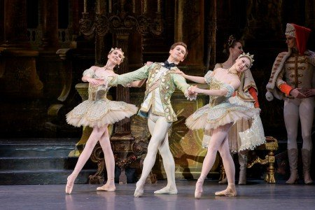 "Boston Ballet dancers Addie Tapp, Patrick Yocum, and Lauren Herfindahl in Marius Petipa's ""The Sleeping Beauty"" Photo by Liza Voll"