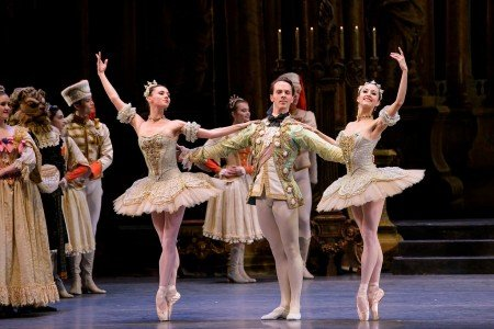 "Boston Ballet dancers Maria Baranova, Paul Craig, and Diana Albrecht in Marius Petipa's ""The Sleeping Beauty"" Photo by Liza Voll"