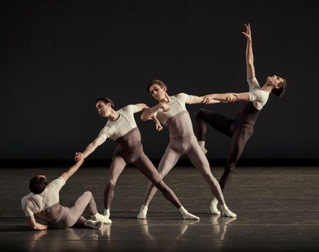 "New York City Ballet dancers in a prior performance of Justin Peck's ""The Decalogue"" Photo by Paul Kolnik"