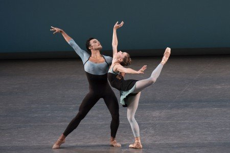 "New York City Ballet dancers Ashly Isaacs and Taylor Stanley in Peter Martins's ""Ash"" Photo by Paul Kolnik"