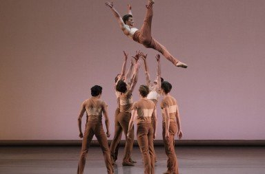"New York City Ballet dancer Daniel Ulbricht  and members of the company  in Justin Peck's ""Rodeo: Four Dance Episodes""      Photo by Paul Kolnik"