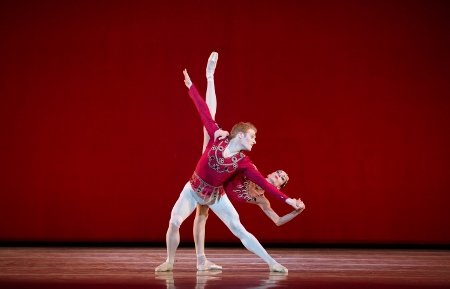 "Pennsylvania Ballet Principal Dancers Amy Aldridge and Alexander Peters in George Balanchine's ""Rubies"" Photo by Alexander Iziliaev"
