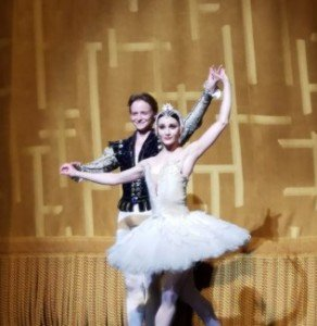 "American Ballet Theatre dancers Sarah Lane and Daniil Simkin during curtain calls following the June 15, 2017 performance of ""Swan Lake"" Photo by Jerry Hochman"