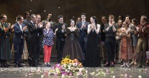 Diana Vishneva, Marcelo Gomes, and members and staff of American Ballet Theatre during curtain calls following Vishneva's June 23, 2017 ABT farewell performance Photo by Gene Schiavone