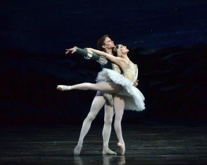 "American Ballet Theatre dancers Sarah Lane and Daniil Simkin in ""Swan Lake"" Photo by Gene Schiavone"