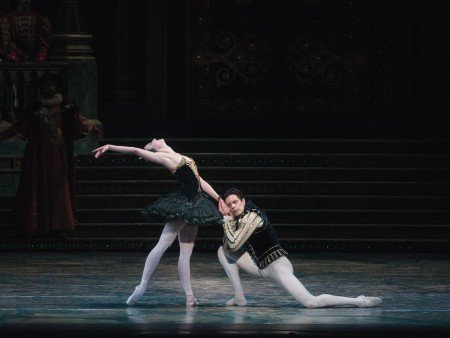 "American Ballet Theatre dancers Devon Teuscher and Alexandre Hammoudi, here in ""Swan Lake"" Photo by Gene Schiavone"