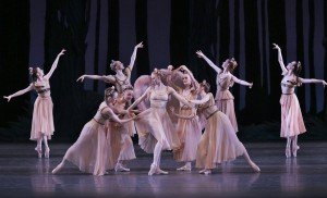 "Teresa Reichlen and New York City Ballet dancers in George Balanchine's ""A Midsummer Night's Dream"" Photo by Paul Kolnik"