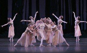 "Teresa Reichlen and New York City Ballet dancers in George Balanchine's ""A Midsummer Night's Dream"" Photo by Paul Kolnik"