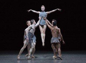 "Sara Mearns and New York City Ballet dancers in Pontus LIdberg's ""The Shimmering Asphalt"" Photo by Paul Kolnik"