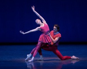 "New York City Ballet dancers Claire Kretzschmar and Zachary Catazaro in Peter Martins's ""Fearful Symmetries"" Photo by Paul Kolnik"