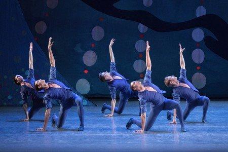 "New York City Ballet dancers in Christopher Wheeldon's ""American Rhapsody"" Photo byPaul Kolnik"
