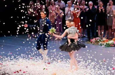 Pacific Northwest Ballet dancers  Batkhurel Bold and Carrie Imler  during a curtain call on June 11, 2017   Photo by Stacy Ebstyne Photography