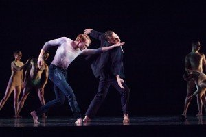 "Jere Hunt, Michael Spencer Phillips, and RIOULT Dance NY dancers in Pascal Rioult's ""Te Deum"" Photo by Sofia Negron"