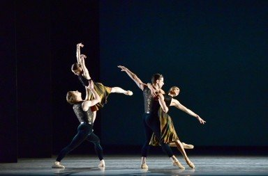 "American Ballet Theatre dancers  (left to right) Alban Lendorf, Sarah Lane,  Marcelo Gomes, and Stella Abrera  in Alexei Ratmansky's ""Souvenir d'un lieu cher""    Photo by Gene Schiavone"