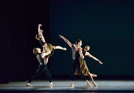 "American Ballet Theatre dancers (left to right) Alban Lendorf, Sarah Lane, Marcelo Gomes, and Stella Abrera in Alexei Ratmansky's ""Souvenir d'un lieu cher"" Photo by Gene Schiavone"