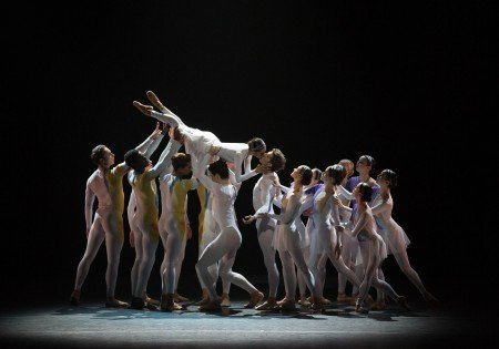 "American Ballet Theatre dancers Misty Copeland, James Whiteside (center) and members of the company in Marcelo Gomes's ""AfterEffect"" Photo by Rosalie O'Connor."
