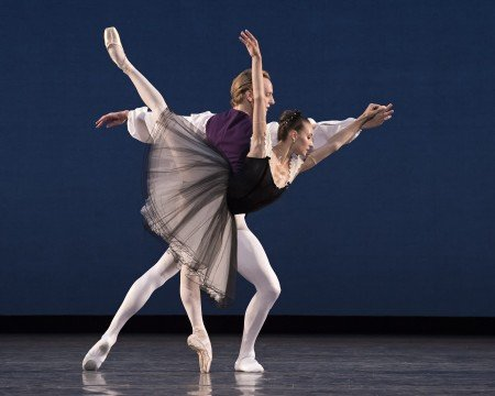 "American Ballet Theatre dancers Christine Shevchenko and David Hallberg in George Balanchine's ""Mozartiana"" Photo by Gene Schiavone"