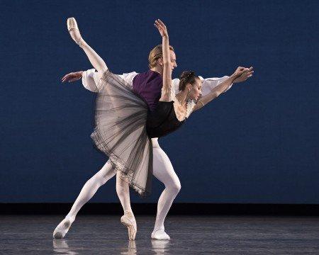 "American Ballet Theatre dancers Christine Shevchenko and David Hallberg in George Balanchine's ""Mozartiana"" Photo by Gene Schiavone"