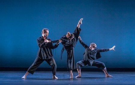 "Cirio Collective dancers Paul Craig, Lia Cirio, and Isaac Akiba in Jeffrey Cirio's ""In the-Mind: The Other Room"" Photo by Sabi Varga"
