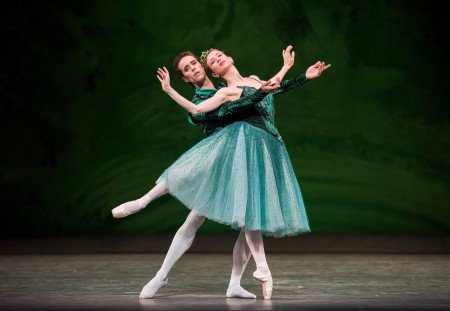 "Myriam Ould-Braham and Mathias Heymann with the Paris Opera Ballet in ""Emeralds"" from ""Jewels,"" choreography by George Balanchine, © The George Balanchine Trust Photo by Stephanie Berger"