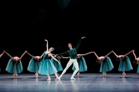 "Laëtitia Pujol and Mathieu Ganio and Paris Opera Ballet dancers in ""Emeralds"" from ""Jewels,"" choreography George Balanchine © The George Balanchine Trust Photo by Agathe Poupeney"