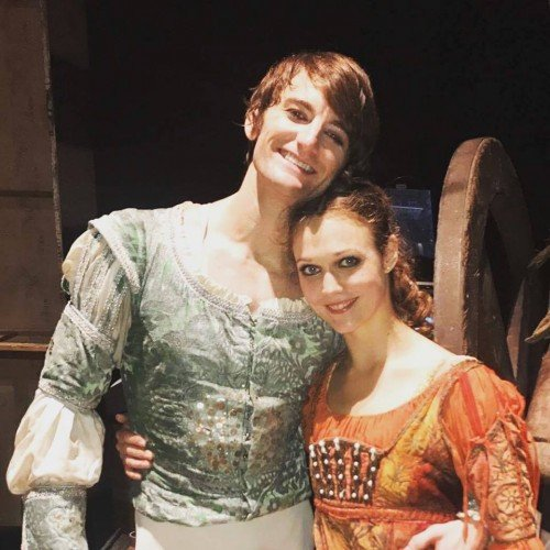 Backstage photo of Jurgita Dronin and Aaron Robison in ENB's Romeo and Juliet