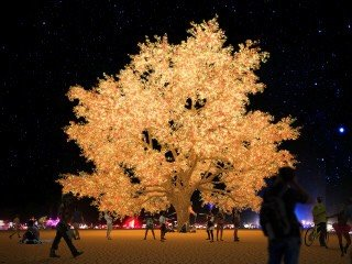 Rendering of the Tree of Ténéré at night Photo courtesy the artists of Tree of Ténéré