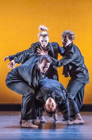 "Cirio Collective dancers  Whitney Jensen (top),  Paul Craig, Lia Cirio, and Isaac Akiba  in Jeffrey Cirio's  ""In the Mind: The Other Room"" Photo by Sabi Varga"