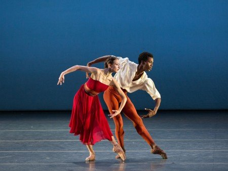 """American Ballet Theatre dancers Christine Shevchenko and Calvin Royal III in Alexei Ratmansky's """"Songs of Bukovina"""" Photo by Marty Sohl"""